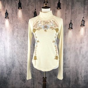 Free People Ivory Disco Rose Embroidered Top M